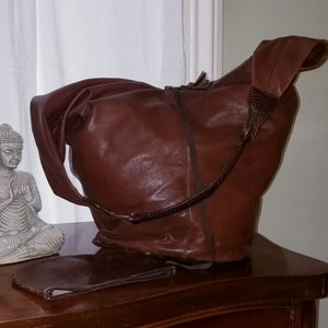Brown leather boho bucket bag